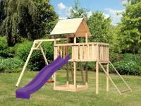 Akubi Spielturm Lotti Satteldach + Rutsche violett + Einzelschaukel + Anbauplattform + Netzrampe