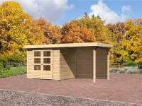 Karibu Aktions Gartenhaus Jever 3 mit Fußboden, Dacheindeckung und Anbaudach 2,40 Meter inkl. Rückwand