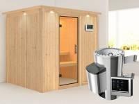 Daria - Karibu Sauna Plug & Play 3,6 kW Ofen, ext. Steuerung - mit Dachkranz - Klarglas Ganzglastür