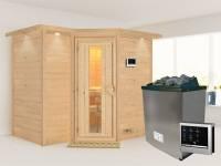 Karibu Sauna Sahib 2 inkl. 9-kW-Ofen mit externer Steuerung, mit Dachkranz, mit energiesparender Saunatür