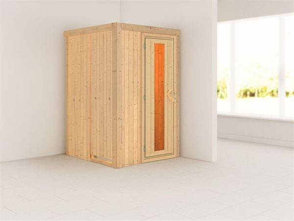 Lenja - Karibu Sauna Plug & Play ohne Ofen - ohne Dachkranz - Energiespartür