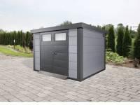 Wolff Finnhaus Metall-Gerätehaus Eleganto 3024 Lichtgrau inkl. Dachrinne und Fallrohr