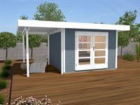 Weka Gartenhaus 126 Plus Gr. 2 grau mit Anbaudach 150 cm