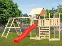 Akubi Spielturm Lotti Satteldach + Schiffsanbau oben + Anbauplattform + Doppelschaukel mit Klettergerüst + Kletterwand + Rutsche in rot