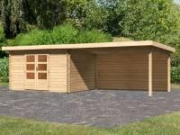 Karibu Woodfeeling Gartenhaus Bastrup 7 mit Anbaudach 4 Meter inkl. Rückwand