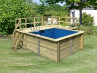 Karibu Rechteck Pool Größe 1 inkl. Terrasse 3,5 m und Seitenterrasse
