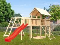Akubi Spielturm Danny Satteldach + Rutsche rot + Doppelschaukelanbau Klettergerüst + Anbauplattform XL + Netzrampe
