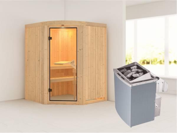 Asmada - Karibu Sauna inkl. 9-kW-Ofen - mit Rundbogen -