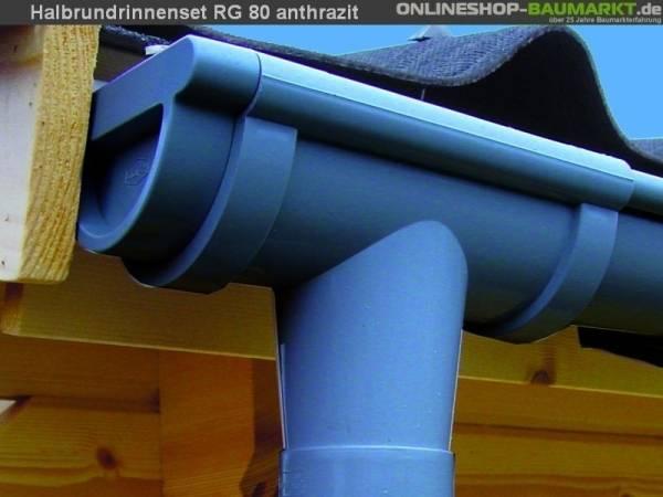 Dachrinnen Set RG 80 anthrazit 450 cm zweiseitig