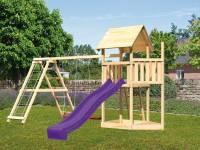 Akubi Spielturm Lotti Satteldach + Schiffsanbau oben + Doppelschaukel mit Klettergerüst + Rutsche in violett