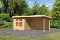 Karibu Woodfeeling Gartenhaus Bastrup 4 mit Anbaudach 3 Meter inkl. Rückwand