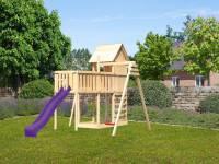Akubi Stelzenhaus Frieda + Rutsche violett + Einzelschaukel + Anbauplattform XL + Kletterwand