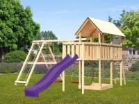 Akubi Spielturm Danny Satteldach + Rutsche violett + Doppelschaukelanbau Klettergerüst + Anbauplattform