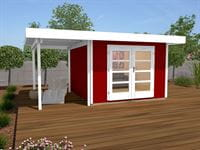 Weka Gartenhaus 126 Gr. 2 in schwedenrot mit Anbaudach 150 cm