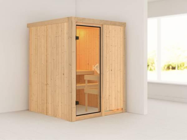Minja - Karibu Sauna Plug & Play ohne Ofen - ohne Dachkranz -