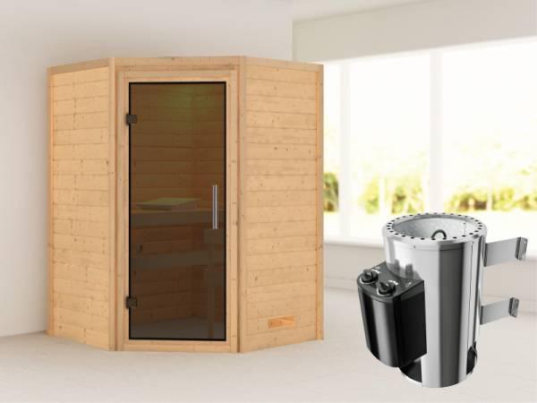 Alicja - Karibu Sauna Plug & Play 3,6 kW Ofen, int. Steuerung - ohne Dachkranz - Moderne Saunatür