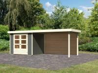 Karibu Woodfeeling Gartenhaus Askola 3 mit Anbaudach 2,80 m, Rückwand in terragrau
