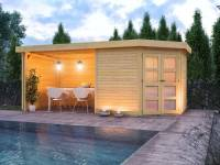 Karibu Gartenhaus Goldendorf 3 natur 19 mm mit Anbaudach 2,20 m, Seiten- und Rückwand