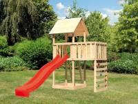 Akubi Spielturm Lotti natur mit Anbauplattform, Kletterwand und Rutsche rot
