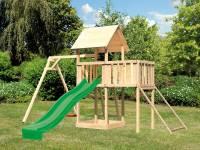 Akubi Spielturm Lotti Satteldach + Rutsche grün + Einzelschaukel + Anbauplattform + Netzrampe