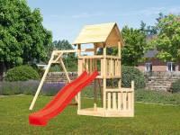 Akubi Spielturm Lotti + Schiffsanbau unten + Einzelschaukel + Rutsche in rot