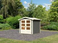 Karibu Woodfeeling Gartenhaus Amberg 2 terragrau