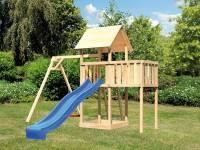 Akubi Spielturm Lotti natur- Anbauplattform- Einzelschaukel- Rutsche blau