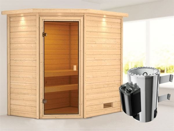 Karibu Sauna Jella mit 3,6 kW Ofen integr. Strg und Dachkranz 38 mm