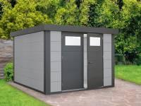 Wolff Finnhaus Metall-Gerätehaus Eleganto 2724 Lichtgrau inkl. Dachrinne und Fallrohr
