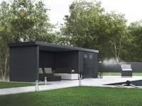 Wolff Finnhaus Metall-Gerätehaus Eleganto 2724 Granitgrau inkl. Lounge links, Dachrinne und Fallrohr
