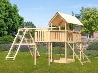 Akubi Spielturm Danny Satteldach + Doppelschaukelanbau Klettergerüst + Anbauplattform XL + Netzrampe