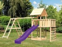 Akubi Spielturm Lotti Satteldach + Rutsche violett + Doppelschaukel Klettergerüst + Anbauplattform + Kletterwand
