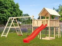 Akubi Spielturm Danny mit Doppelschaukel inkl. Klettergerüst und Rutsche in rot