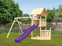 Akubi Spielturm Lotti + Schiffsanbau unten + Doppelschaukel + Rutsche in violett
