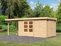 Karibu Woodfeeling Gartenhaus Retola 6 mit Anbauschrank und Anbaudach 2,40 Meter