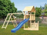 Akubi Spielturm Lotti + Schiffsanbau unten + Kletterwand + Doppelschaukel mit Klettergerüst + Rutsche in blau
