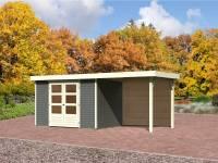 Karibu Gartenhaus Jever 4 in terragrau mit Fußboden, Dacheindeckung und Anbaudach 2,4 Meter-Rückwand