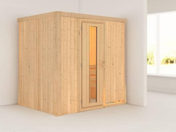 Karibu Sauna Bodin ohne Ofen, ohne Dachkranz, mit energiesparender Saunatür