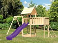Akubi Spielturm Lotti Satteldach + Rutsche violett + Einzelschaukel + Anbauplattform XL + Netzrampe