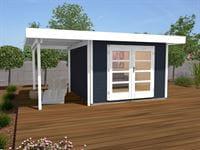 Weka Gartenhaus 126 Plus Gr. 2 anthrazit mit Anbaudach 150 cm