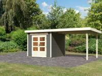 Karibu Gartenhaus Kandern 3 in terragrau mit Anbaudach 3,2 Meter