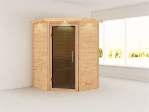 Alicja - Karibu Sauna Plug & Play ohne Ofen - mit Dachkranz - Moderne Saunatür