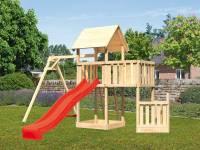 Akubi Spielturm Lotti + Schiffsanbau unten + Anbauplattform + Einzelschaukel + Rutsche rot