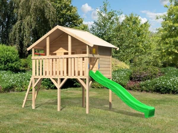 Akubi Spielhaus Sassi mit Rutsche 2,5 m grün und Spielset