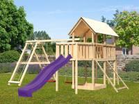 Akubi Spielturm Danny Satteldach + Rutsche violett + Doppelschaukelanbau Klettergerüst + Anbauplattform + Netzrampe