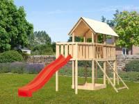 Akubi Spielturm Danny Satteldach + Rutsche rot + Anbauplattform + Netzrampe