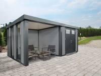 Wolff Finnhaus Metall-Gerätehaus Eleganto 2724 mit Lounge Links inkl. 2 Fenster Lichtgrau