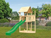 Akubi Spielturm Lotti Satteldach + Schiffsanbau oben + Rutsche in grün