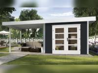 Weka Gartenhaus 126 Plus Gr. 1 anthrazit mit Anbaudach 300 cm