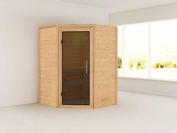 Karibu Sauna Franka 38 mm ohne Dachkranz- ohne Ofen- moderne Tür